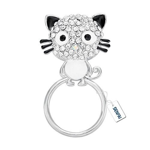 SENFAI Latest Lovely Black Enamel Pussy Cat Magnetic Eyeglass Holder,Clip Multi-function Cat Brooch (Enamel Eyeglass Holder)