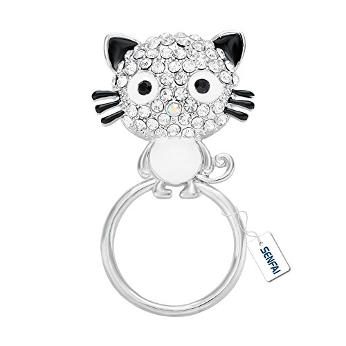 Glass Silver Brooch - SENFAI Latest Lovely Black Enamel Pussy Cat Magnetic Eyeglass Holder,Clip Multi-function Cat Brooch (Silver)