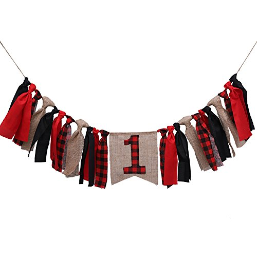 Lumberjack Highchair Banner Timber Buffalo Plaid Baby Boy First Birthday Party Photo Backdrop -