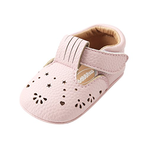 Kuner Baby Girls PU Leather Embroidered Soft Bottom Princess Shoes First Walkers (12cm(6-12months), Pink Hollow) (Shoes Brand Pink)