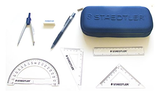 Staedtler School Kit - Geometry Compass, Protractor, Triangle Rulers, Side Click Pencil, Eraser + Neoprene Zippered Pencil Case Photo #8