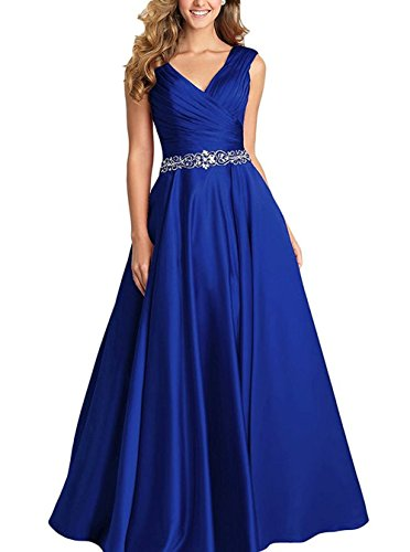 (Beading A-line Formal Evening Dress Maxi Bridesmaid Gown Sleeveless Royal Blue Size 10)