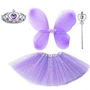 Little Girl's Pretend Princess Sofia Dress up Party Costume Accessories (Lavender Butterfly)