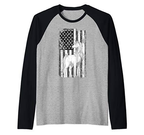 Distressed American Flag Majestic Horse Unicorn Gift Raglan Baseball Tee
