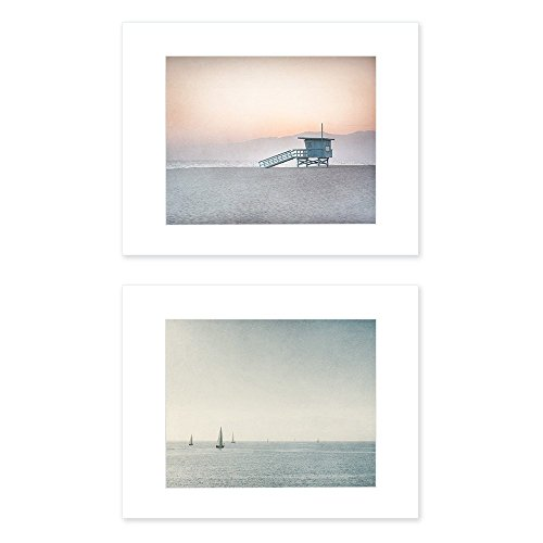 Set of 2 8x10 inch Matted Prints Venice Beach Wall Art Blue Los Angeles Coastal Decor 'Land and Sea' by Offley Green