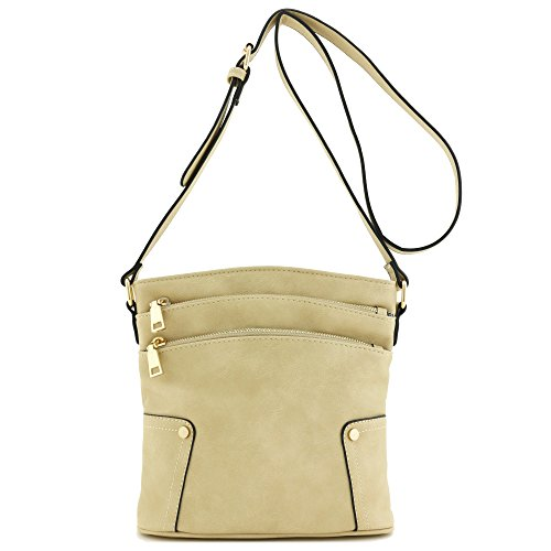 Beige Pocket Zip Crossbody Triple Bag Medium qwfYp1R