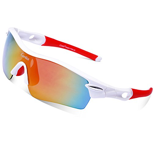Sport Sunglasses - Carfia Polarized Sunglasses for Men and Women with 5 Interchangeable Lenses, Cycling Running Fishing Ski Golf, TR90 Unbreakable Frame UV400 - Ladies Sunglasses Ski