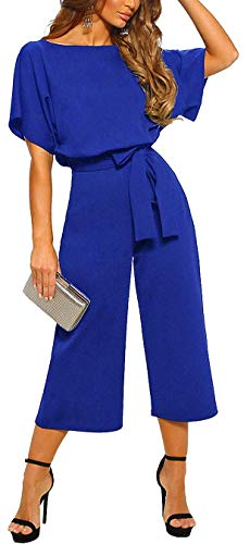 - QUEENIE VISCONTI Women Summer Culotte Jumpsuit - Casual Wide Leg Shorts Pants Rompers Vacation Dressy Playsuit Navy