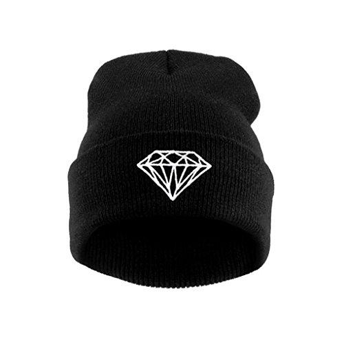 MuLuo Knitting Men Women Cap Diamond Pattern Beanies Winter Wool Hats (Diamond Knitting Pattern)