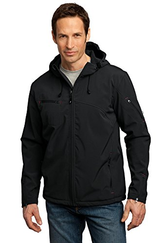Port Authority Men's Textured Hooded Soft Shell Jacket M Black/Engine Red ()