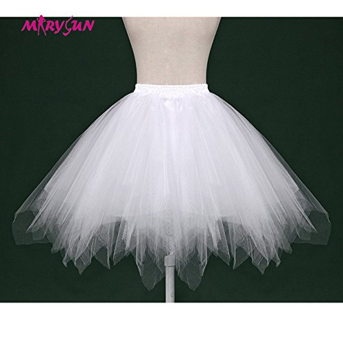 Women Black 50s 80s costume Vintage petticoat bubble tulle party accessory tutu (White, ()