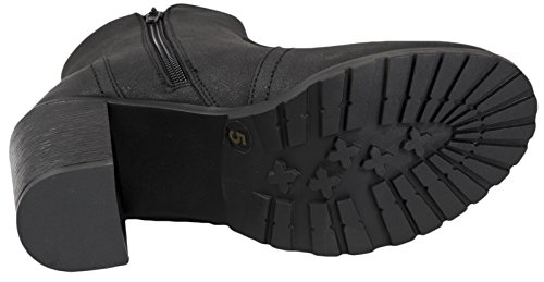 Lora Dora Womens Chunky Block Heel Chelsea Boots Black Distressed Pu QGL2MHOeX