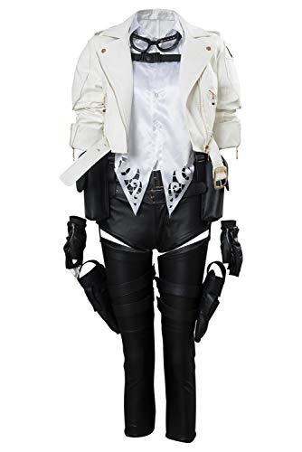Womens DMC Lady Mary Cosplay Costume Devil May Cry Halloween Full Set Outfit,Medium White