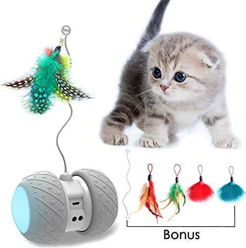 MalsiPree Robotic Interactive Cat Toy, Automatic Feather/Ball Teaser Toys for Kitten/Cats, USB Rechargeable Electronic Kitty Toy, Large Capacity Battery, All Floors/Carpet Available, 4 Bonus Feathers 2