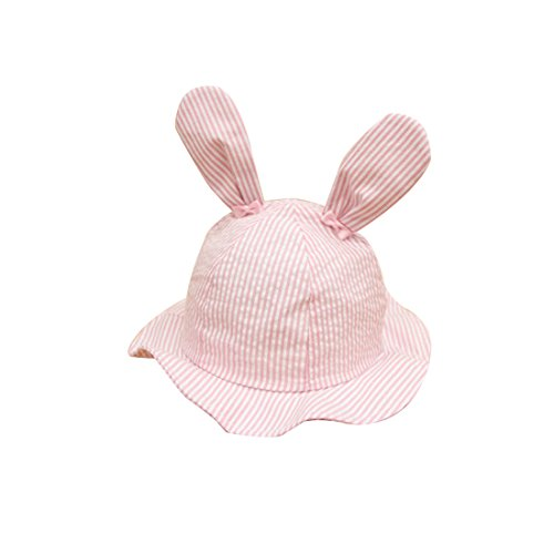 Toddlers Baby Rabbit Ears Princess Large Wide Brimmed Stripe Sun Protection Hat, Pink, 18.9