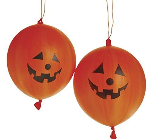 24 pack - Rubber Jack-o-lantern Pumpkin Halloween Punch Balls - Bulk Halloween Toys and Class Packs