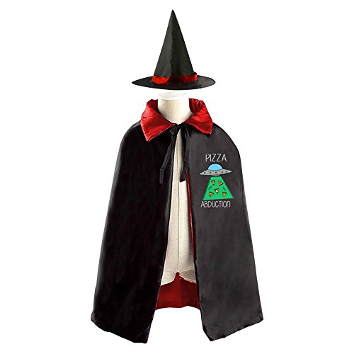 Adult Alien Abduction Costumes (Halloween Costume Children Cloak Cape Wizard Hat Cosplay Pizza Abduction For Kids Boys Girls)