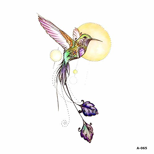 WYUEN 5 Sheets Watercolor Birds Hummingbird Fake Tattoo Waterproof Temporary Tattoo Sticker for Women Men Body Art 9.8X6cm A-065 -