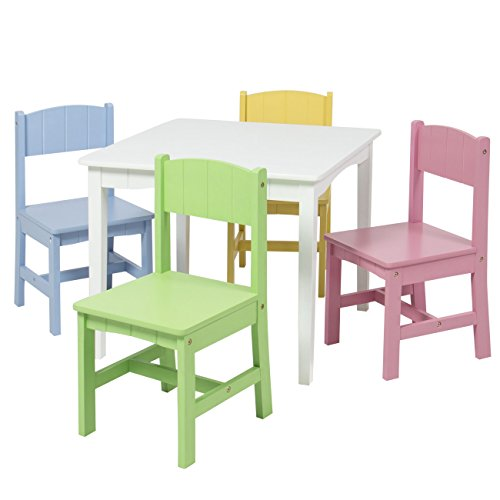Best Choice Products Wooden Kids Table And 4 Chairs Set Furniture Play Area School Home - 4 Chair Set Pastel