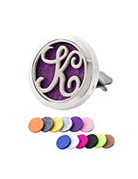 Monogram Initial Essential Oil Diffuser Vent Clip Car Aromatherapy Air Purifier Stainless Steel Magnetic Locket