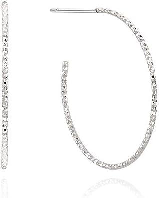 Womens Jewelry 925 Sterling Silver Diamond Cut twist Hoop Earrings,Hoop Earrings For Women