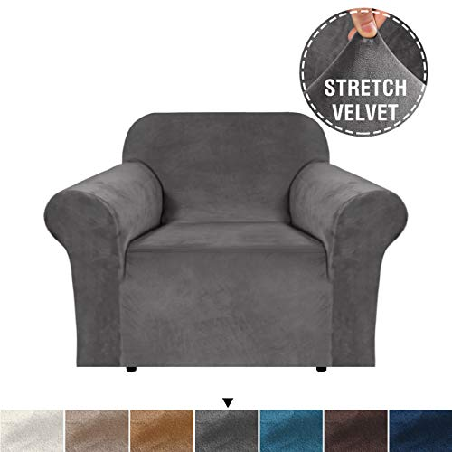 H.VERSAILTEX Home Modern Velvet Plush 1 Piece Stretch Sofa Slipcover, Chair Cover, Chair Protector, Form Fit Stretch, Stylish Furniture Cover/Protector, Machine Washable(Chair, Grey) (Armchairs Covers)