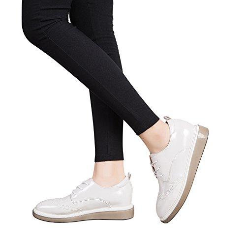 Jamron Mujer Brillante Suave Falso Cuero de Patente Cuña Zapatillas Comodidad Creepers Brogue Encajes Blanco