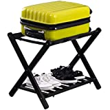 Durable Shoe Storage Holder Wood Stand Folding Luggage Rack Black