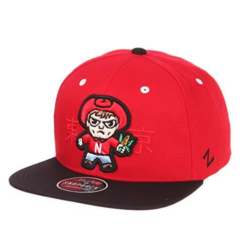 Zephyr NCAA Nebraska Cornhuskers Men's Harajuku Snapback Hat Tokyodachi Collection, Red, Adjustable