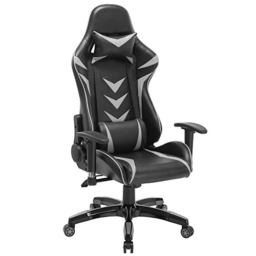High-Back Swivel Gaming Chair Black & Gray Racing Ergonomic