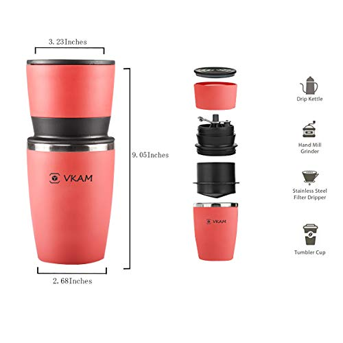 Manual Coffee Grinder Portable Integrated Grinder Red Office Travel Coffee Machine Stainless Steel Adjustable Ceramic Grinder, Holiday Gift