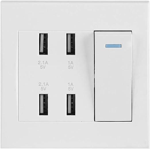 para toma de corriente el/éctrica de la oficina d Control de interruptor de 4 puertos 5V 2.1A//1A 4100mA Toma de corriente USB montada en la pared Toma de corriente inteligente del cargador 220~250V
