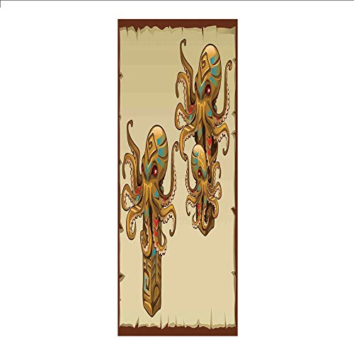 3D Decorative Film Privacy Window Film No Glue,Octopus Decor,Cartoon Art Tribal Monster Kraken Octopus Sculpture Ornament Illustrations Sea Creature Print,Brown,for Home&Office