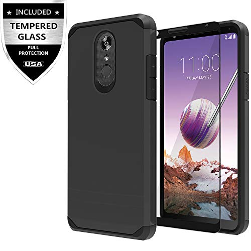 Case Protector Shield Black Rubberized (LG Stylo 4 Case, LG Stylo 4 Plus Case, LG Q Stylus Case with Tempered Glass Screen Protector,IDEA LINE Heavy Duty Protection Hybrid Hard Shockproof Slim Fit Cover - Black)