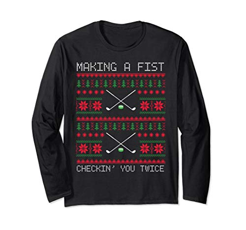 Spirit T-shirt Fighting (Christmas Ugly Sweater Hockey Fighting Long Sleeve Shirt)
