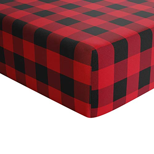 Crib Sheets for boy Girl - 100% Cotton Fitted Crib Sheet Set - Perfect for Baby Boys and Girls - Fits Standard Toddler Mattress (Buffalo Plaid)