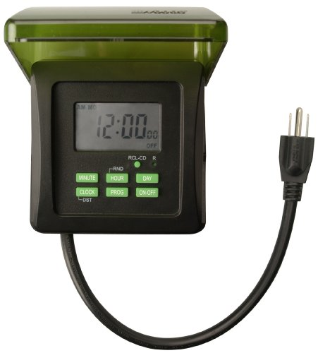 Woods 50015WD Outdoor 7-Day Heavy Duty Digital Plug-In Timer, 2 Grounded Outlets (Wood Outdoors For)