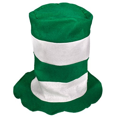 Green & White Striped Stove Top Hat ()