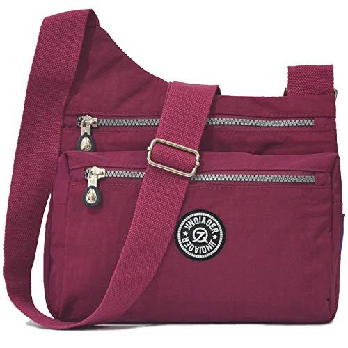 (STUOYE Nylon Multi-Pocket Crossbody Purse Bags for Women Travel Shoulder Bag (Z187 Wine Red))