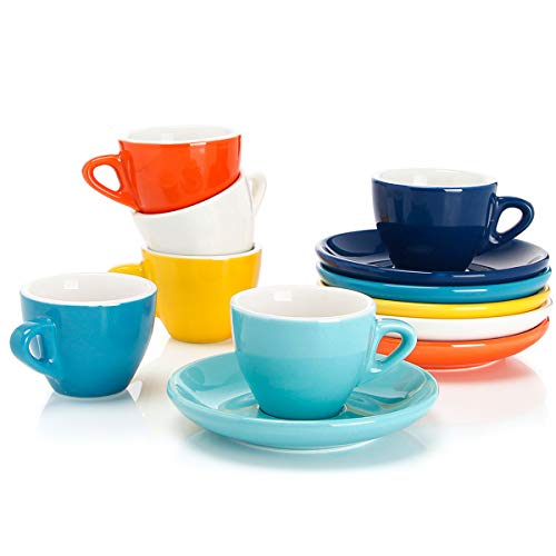 Sweese 401.002 Porcelain Espresso Cups with Saucers - 2 Ounce - Set of 6, Hot Assorted Colors (Ceramic Espresso Cups)