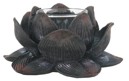 SUMMIT COLLECTION Eastern Enlightenment Lotus Flower Meditation Votive and Candle Holder, Zen Buddhist Home Decor