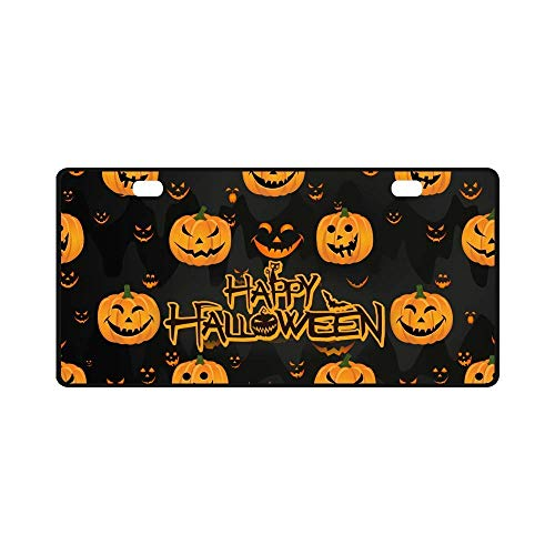 (Fshionlicendseplate Car License Plate Holders, Halloween Decor Funny Abstract Pumpkin Scary Face Automotive,Auto Metal Car Bumper Accessories Tag)