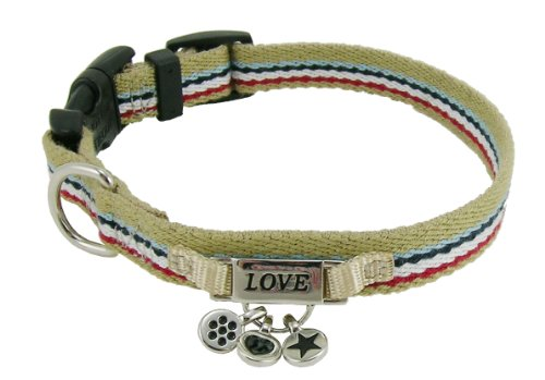 Lead Stripe Charming - Charming Stripes Tan Cotton Dog Collar � 18 to 24 in.
