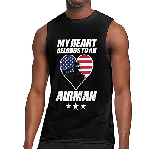 Mens My Heart Belongs to an Airman Sleeveless T-Shirt Top Cotton Gym Muscle T-Shirts Black