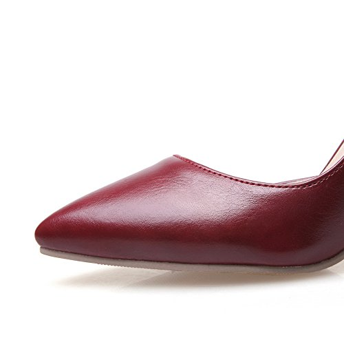 BalaMasa da donna slip-on high-heels solido imitato pumps-shoes, Rosso (Red), 38