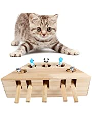 Cat Toys Interactive Mouse Whack A Mole Mouse Solid Wooden Puzzle Box Cat Exercise Toy with Cute Cartoon Toys for Cat Kitten Hunting Playing Scratching Bite (5 Holes)