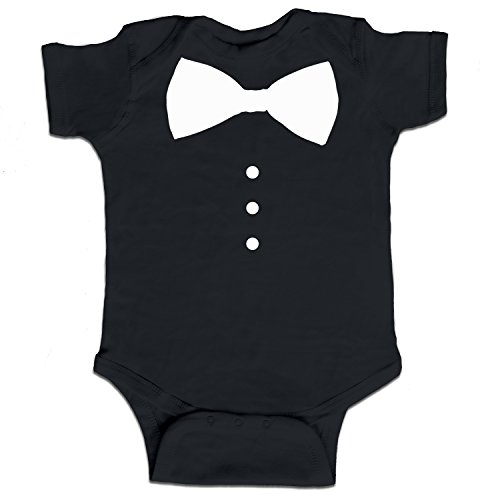 Decal Serpent Suit Tie Bowtie Tuxedo Funny Baby Boy Bodysuit Infant – Black – 6 Month