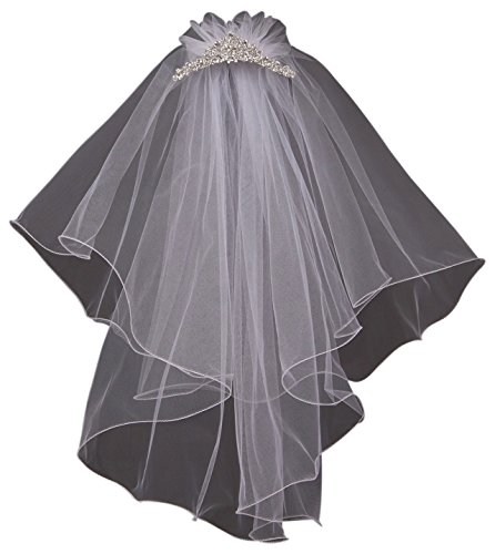 Jewel Comb Veil Tiara Princess Wedding Holy First Communion Flower Girl Veil White (K0D25)]()