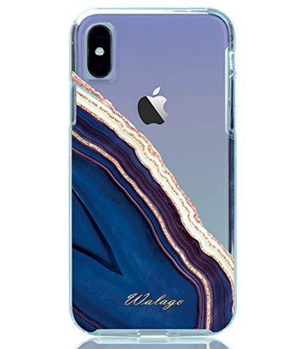 (WALAGO Clear Case for iPhone X XS, Hybrid Shockproof Clear Case with Glitter Agate Crystal Design Armor Hard PC Back Flexible TPU Fram Bumper for iPhone X XS (Gold Glitter/Blue))