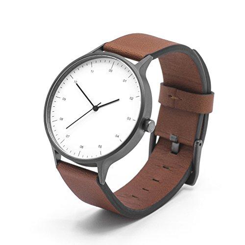 BIJOUONE B302 Unique Minimalist White Dial Stainless Steel Swiss Quartz Analog Brown Leather Watch, Gunmetal Gray Case